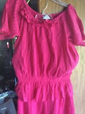 OSO CASUALS..HOT PINK..M..PEASANT TOP..5 TIER SKIRT..BLING,,SQUARE DANCE DRESS