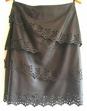 NWT! $198 White House Black Market~Sz 2~Leather Pencil Skirt~Tiered~Cut Out Lace