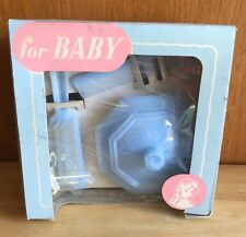 VINTAGE BABY HAIR BRUSH, COMB & TRINKET DISH GIFT SET DUPONT NYLON BLUE PLASTIC