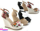 Womens Sandals Wedge Heel Party Shoes Platform Peep Toe Ankle Strap Comfort NEW