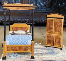 Vintage DOLLHOUSE ART DECO WOOD BED & WARDROBE SET - HANDMADE