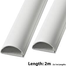 2x 1m (2m) - 16mm x 8mm White Speaker Cable Trunking/Conduit Cover - AV/TV Wall