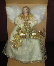 Celestial ANGEL Tree Topper Retired Gold Ribbon White Feather Wings New In Box