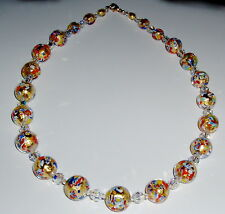 24K Gold and Multicolored Klimt Murano Glass and Crystal Necklace