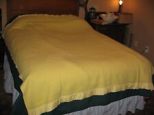 """VINTAGE CHATHAM SOFT BLANKET-YELLOW WITH SATIN BINDING-TWIN- 68"""" X 86""""-VERY WARM"""