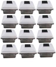 5x5 Outdoor Garden Solar LED White Post Cap Fence quare Lights 12 Bundle
