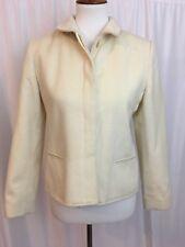 Louben Womens Jacket Coat Cashmere Wool Career Cream Hidden Button Size 6P