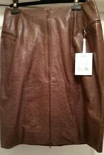 NWT Christian Dior Boutique Paris Leather Brown Ostrich Embossed $1940 Sz 14