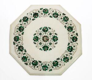 "18"" Marble Table Top Handmade Semi precious stones floral Art"