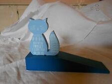 New Blue Cat Doorstop - 'Never forget I love you'
