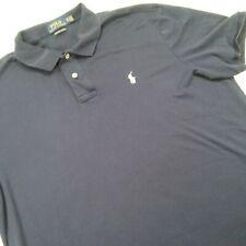 Ralph Lauren Men Large Polo Golf Solid Shirt Blue Short Sleeve Mid Button *03F