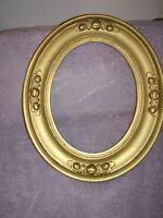 ANTIQUE VTG CARVED WOOD  PICTURE FRAME 14 x 12 -8 by 10  oval berries design