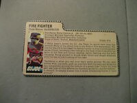 Vintage GI Joe 1985 Fire Fighter Barbecue File Card