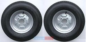 A pair of 500 x 10 inch trailer wheels and tyres with 4 ply tyre and 4 inch PCD