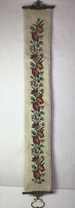 """Bell Pull Needlepoint Floral Brass Door Hang Decor Rope Trim 50""""x6"""" READ"""