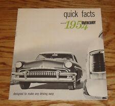 Original 1954 Mercury & Monterey Quick Facts Sales Brochure 54