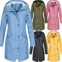 Plus Size Women Rain Wind Waterproof Jacket Ladies Hooded Outdoor Long Raincoat