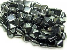 12mm Hematite Metallic Czech Glass 2 Hole Pyramid Stud Beads (6) #568