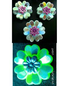 "3 Czech Vaseline!!!! Glass Buttons #B603 - 22 mm or 7/8"" - RARE  SHAPE of FLOWER"