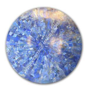 "24"" Round Marble Coffee Center Table Top Random Lapis Lazuli Inlay Decor E1088"