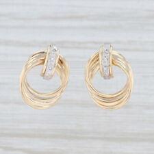 Diamond Layered Circles Drop Earrings 14k Yellow Gold Pierced Studs