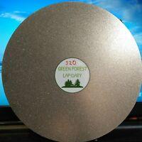 "THK 8""x1/2- 320G Electroplated Diamond Flat Lap Lapidary Polishing Glass Facetor"