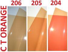 """3 x filtre d'éclairage cto Orange Gel feuilles 24 """"x 24"""" 204 205 206 1/4 1/2 plein"""