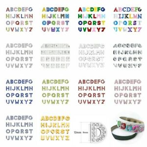 26pcs Multi-colors 8mm Slide Charms Rhinestone Slider letters Fit 8mm Wristband