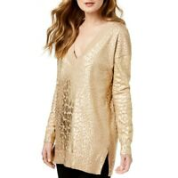 MICHAEL KORS NEW Women's Metallic Giraffe Print V-Neck Sweater Top TEDO