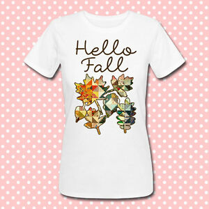 "T-shirt donna con stampa ""Hello Fall"", autunno, foglie patchwork, hello autumn!"