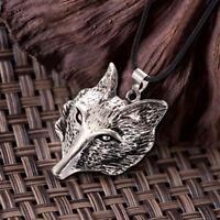Wikinger tibetischen Silber Wolf Kopf Anhänger Halskette Amulett Tier Män hf  xj