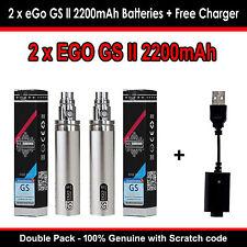 GENUINE EGO GS 2 2200mAh Vape Pen Starter Kit Huge Battery Double Pack - SILVER