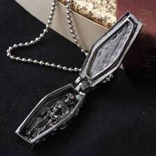 Men Stainless Steel Cross Steampunk Coffin Skull Skeleton Pendant Necklace Chain