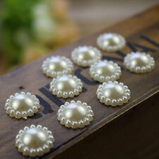 100pcs/Lot Ivory Flat Back Pearl Flower Beads Wedding Cards Embellishments 11mm