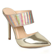 New Black Gold Wild Diva Pointy Toe Stiletto slip on Mule High Heel Pump womens