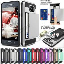 High Impact Hybrid Slide Card Pocket Armor Case Cover For Samsung Galaxy Series