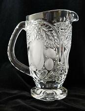 "Crystal Pitcher, Beyer W. German Glass, 8"" ""Bavarian Harvest"" Cut Pattern"