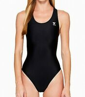 TYR Womens Swimwear Black Size 28 Open-Back One-Piece Logo Print $59 823