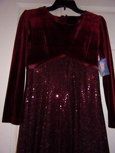 Angelic Girls Dress Burgundy Christmas Party Pagaent Velvet Satin Sequin 16 & 12