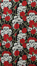 The Rose Tattoo Black Skulls & Roses Cotton Alexander Henry #6620 By the Yard