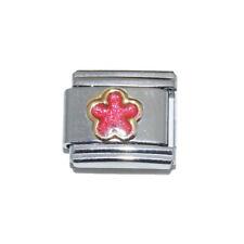 Pink Sparkly Flower enamel Italian Charm - fits 9mm classic bracelets