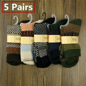 5Pairs Mens Thermal Socks Walking Winter Warm Thick Wool Cashmere Chunky Socking