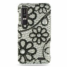 Verizon Motorola Droid 3 Crystal BLING Hard Case Snap Phone Cover Black Lace