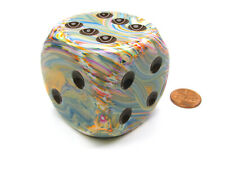 Festive 50mm Huge Large D6 Chessex Dice, 1 Piece - Vibrant with Brown Pips