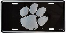 NCAA Clemson University Tigers Metal License Plate/Tag NEW Black/Chrome
