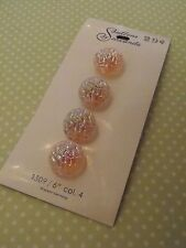 4 Vintage Pink Glass Schwanda Buttons Irridescent sew quilt craft jewelry knit