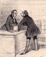 Lithographie Caricature Honoré DAUMIER Industrie Journaliste Journalisme 1839