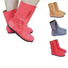 41/42/43 Women Suede Fabric Motor Comfy Round Toe Flats Lace Ups Ankle Boots D