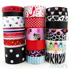 """20Yards Assorted Grosgrain Ribbon Lot 20 Styles 3/8""""--1.5"""" Black Red Theme Craft"""