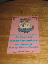 KITTY CUCUMBER BOOKLET  OF 20 ASSORTED ALLPURPOSE GIFT/NOTE & PARTY PLACE CARDS